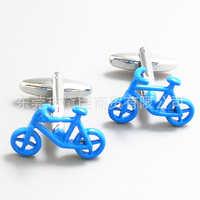 流行衣饰自行车袖扣现货混批高档蓝色单车袖钉法式袖扣