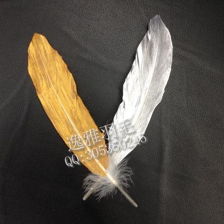 DIY饰品配件天使翅膀土豪金色天然鹅毛硬飘喷漆印花羽毛拍照神器
