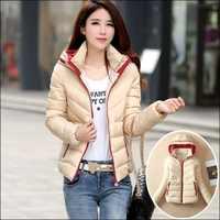 厂家直销冬季新款女式羽绒棉服韩版修身短款棉衣拼色长袖棉服