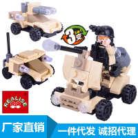 厂家直销积木玩具3变小颗粒军事战车拼装积木一件代发