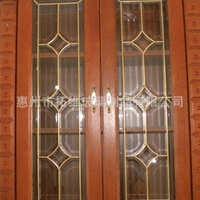 厂家供应工艺镶嵌玻璃压花铜条镶嵌玻璃厨柜玻璃量大从优