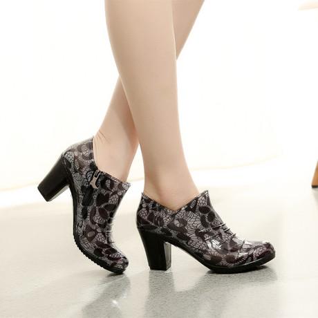 春秋新款时尚粗高跟女士低帮雨鞋雨靴拉链防水鞋胶鞋防滑百搭韩版