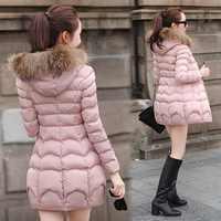 一件代发羽绒棉服女装女式新款韩版时尚潮中长款连帽棉袄大衣