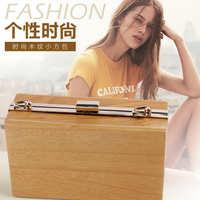 2016新款时尚横款木头包创意木制包单肩斜挎手拿链条包高品质小包