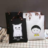 2020韩国版简约女帆布包男女式单肩手提包学生装书包批发购物袋
