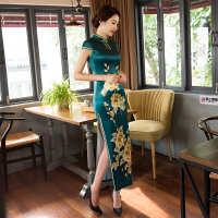 女装新款修身显瘦时尚旗袍连衣裙简丽美气质复古丝绸改良旗袍批发