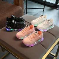 儿童灯鞋童鞋运动带灯网布休闲鞋莱卡弹力布透气LED出口闪灯球鞋