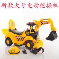 大号儿童电动挖土机可坐可骑挖掘机带音乐宝宝挖机玩具四轮工程车