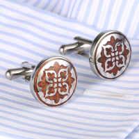 优质不锈钢袖扣圆形红木袖钉xiukou洋服袖口cufflink361