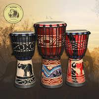 热销非洲鼓标准8寸印尼手鼓纯羊皮整木掏空丽江手鼓批发