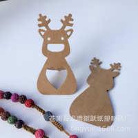 现货亚马逊爆款镂空麋鹿圣诞系列牛皮纸吊牌留言烘焙礼装饰