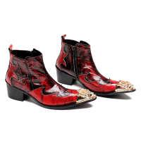 男士皮靴时尚牛皮尖头英伦男靴短靴真皮流行高帮皮鞋酒红棕马靴潮