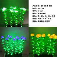 LED地插灯LED月季花花灯灯光花海绢布艺带叶子草坪装饰灯