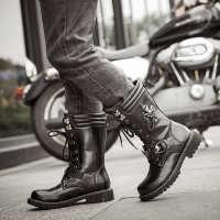骑士靴高筒男靴速卖通外贸皮靴男长靴马丁靴演出机车靴表演男靴