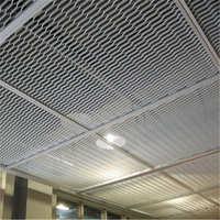 厂家直供金属网孔菱形铝板铝合金勾搭式拉网铝天花板吊顶装饰