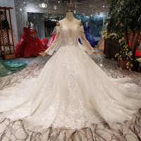 2020新款婚纱新娘长袖超仙超闪喷金蕾丝贴花奢侈高档绑带款水晶钻