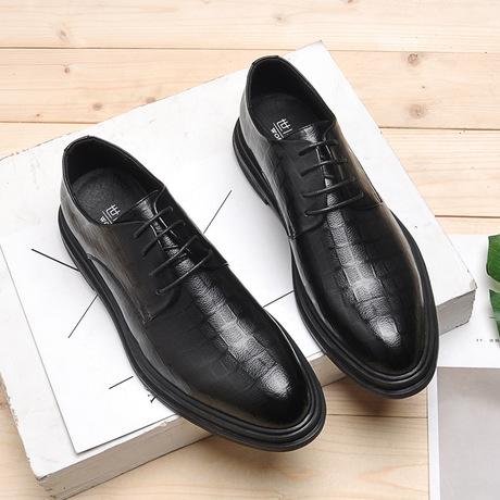 一件代发男士商务正装休闲小皮鞋英伦韩版潮真皮冬季增高黑色婚鞋
