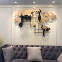 样板房软装创意美式欧式世界地图金属墙面装饰品壁挂饰品挂件摆设