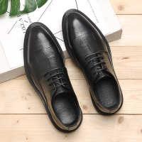代发春夏季格子男士正装皮鞋商务透气休闲英伦韩版真皮尖头婚鞋