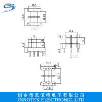 电木骨架EF-1614D双槽卧式3+3P针距3.75排距12.7EF1614骨架
