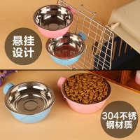 宠物喂食器挂碗笼碗狗猫可固定式饮水宠物不锈钢碗狗笼猫笼用