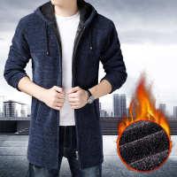 外套男中长款秋冬男装针织开衫男加绒加厚毛线风衣服男士夹克带帽