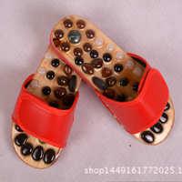 厂家大批发天然鹅卵石砭石木鱼石穴位足底***拖鞋可定制