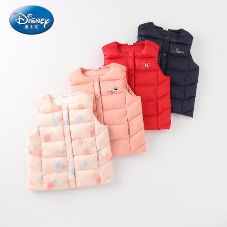 迪士尼宝宝女童梭织轻薄前开羽绒马甲2019冬上新洋气儿童羽绒马甲