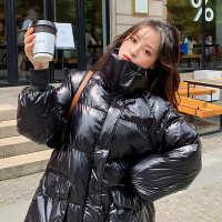 棉服女2019新款秋冬棉袄韩版宽松风衣亮面中长黑色小个子羽绒外套