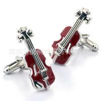 红色滴胶小提琴袖钉男袖口扣衬衫铜扣电镀白钢