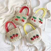 夏季新款韩版草编樱桃女式手提包洋气仙女草莓单肩斜挎包