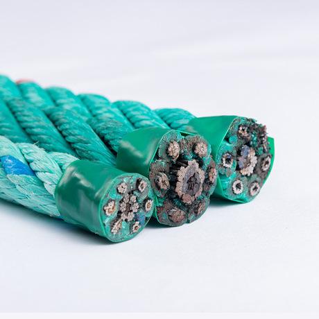 夹钢丝芯外包PP扁丝蓝色渔业复合绳多股钢丝绳
