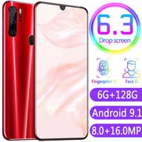 跨境P35手机6.3寸水滴屏真指纹一体手机低价手机3G智能手机oem