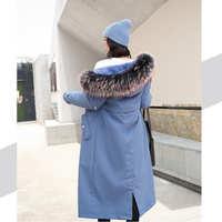 实拍秋冬新款羽绒服女韩版长款宽松收腰可拆卸内胆皮草棉风衣外套