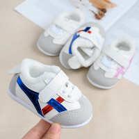 一件代发冬季加绒宝宝学步鞋软底1-2岁男女童婴儿棉鞋保暖小白鞋0