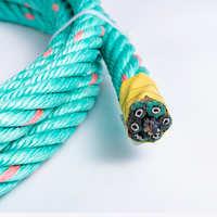 夹钢丝芯外包PP扁丝蓝色渔业复合绳厂家直销