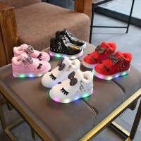 2019韩版时尚棉鞋水钻亮灯童鞋卡通蝴蝶结LED夜光软底加绒女童鞋
