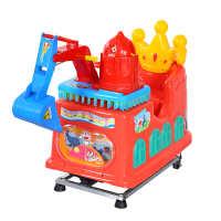 新款投币挖掘机吐泡泡摇摇车儿童电动玩具扫码商用超市门口摇摆机