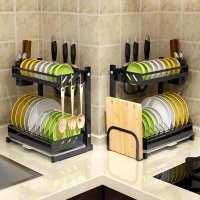 厨房置物架黑色不锈钢台式碗架碟架二层三层多功能沥水架厨房用品