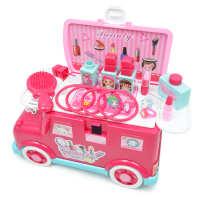 多功能收纳巴士儿童女孩过家家益智玩具仿真梳妆台化妆玩具套装