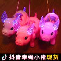 摆摊货源2020鼠年电动牵绳小猪老鼠发光音乐纤绳遛猪猪网红同款玩