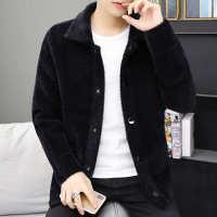 秋冬季新款加厚针织衫开衫男士毛衣外套韩版仿水貂绒夹克上衣服潮