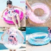 义乌工厂PVC透明羽毛泳圈儿童充气救生圈可爱儿童游泳圈定制批发