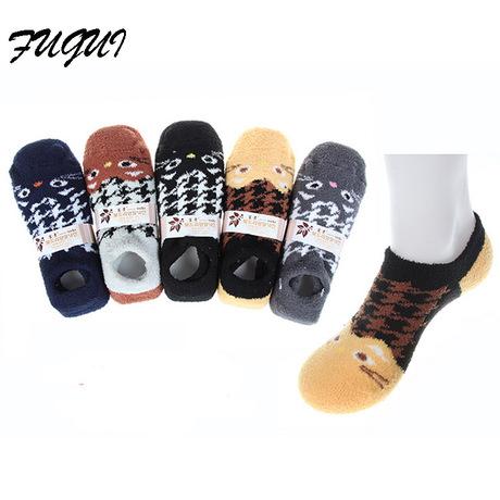 成人男士珊瑚绒袜睡眠鞋袜脚底防滑点胶袜保暖袜地板袜库存
