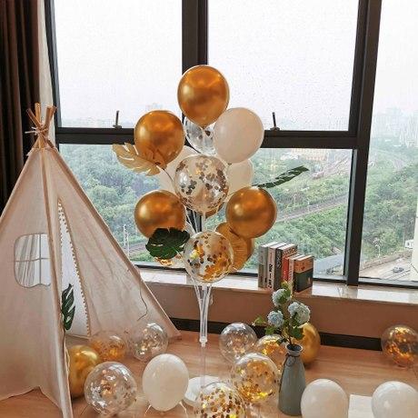 桌飘婚庆立柱婚房野餐装饰场景气球支架结婚路引汽球装饰地飘卧室