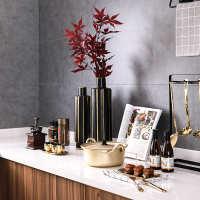 时尚北欧轻奢样板房间厨房橱柜软装饰摆件组合套装金色锅具胡椒罐