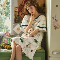 睡裙女夏季纯棉短袖薄款甜美可爱风家居服时尚连衣裙学生大码睡衣