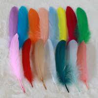 厂家批发33色染色鹅毛大飘彩色羽毛diy配件头饰装饰白色羽毛
