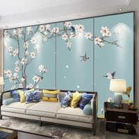 。新中式花鸟硬包电视背景墙客厅沙发卧室床头板装饰定制8d壁画软