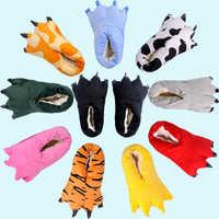 动物卡通连体睡衣配套棉鞋超柔面料PU底家居拖鞋恐龙爪鞋一件代发